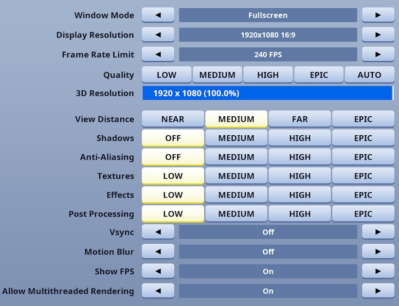 Fortnite Instellingen voor Maximale FPS